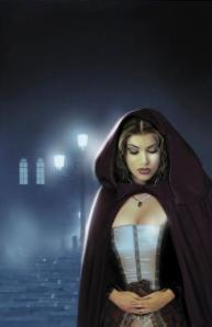 Retrato evocador de lo gótico, otra de las ilustraciones de José del Nido para un título de romántica histórica.